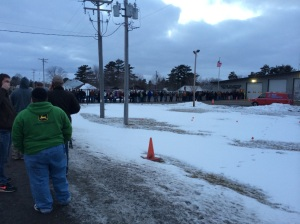 Jobseekers line up outside firehouse in Hixton, WI. This picture was taken around 6PM, two hours into the job fair. This lasted until roughly 8PM