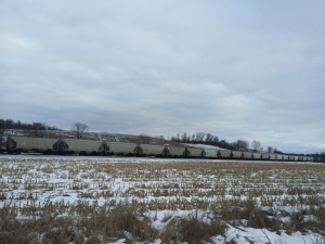 Rail cars carrying the frac-sand are seen leaving the Hixton area. This particular train stretched nearly a mile.