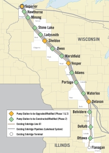 Current route of the Enbridge pipeline through Wisconsin.