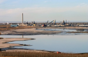 """Pictured is a site of the chemical and water slurry that has made it's way back up the pipeline to a """"sacrifice zone"""""""